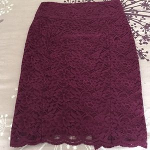Stunning berry colored lace Express pencil skirt!
